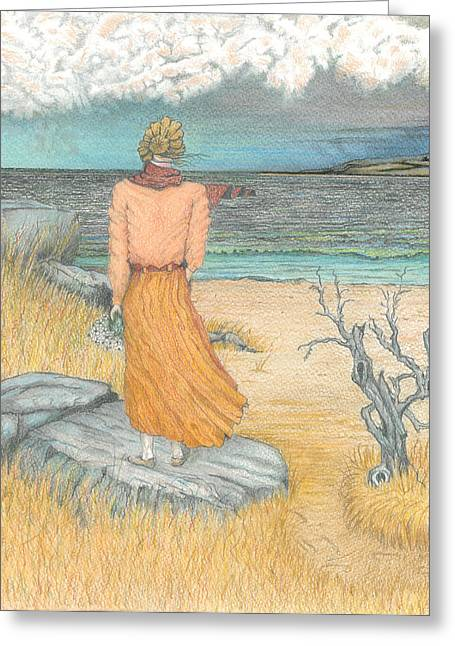 Storm Prints Pastels Greeting Cards - Lady by the Sea Greeting Card by David Gallagher