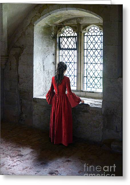 Renaissance Clothing Greeting Cards - Lady by the Window Greeting Card by Jill Battaglia