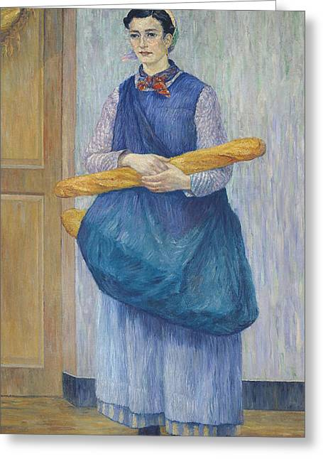 Apron Photographs Greeting Cards - Lady Carrying Bread, 1889 Oil On Canvas Greeting Card by Albert Dubois-Pillet