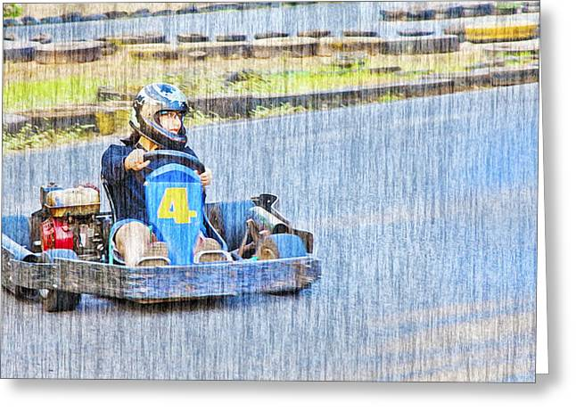 Go Cart Greeting Cards - Lady Carter Greeting Card by Kantilal Patel