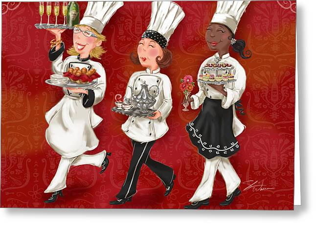 Italian Restaurant Greeting Cards - Lady Chefs - Brunch Greeting Card by Shari Warren