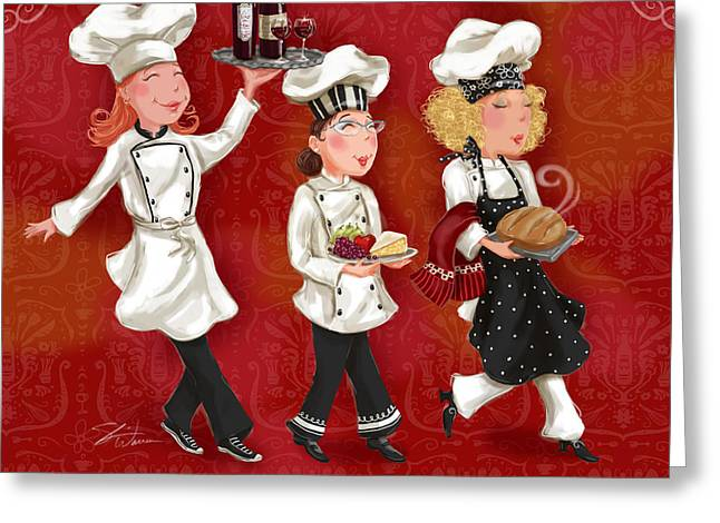 Italian Restaurant Greeting Cards - Lady Chefs - Lunch Greeting Card by Shari Warren