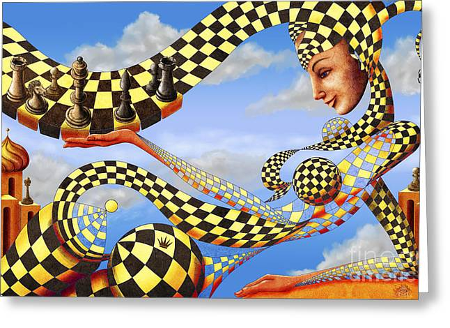 Golden Fish Paintings Greeting Cards - Lady Chess. Lets play the game Greeting Card by Sergey Malkov