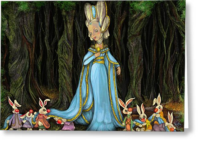 Banquet Digital Art Greeting Cards - Lady Cottontail and bunnies Greeting Card by Lisa Bethan