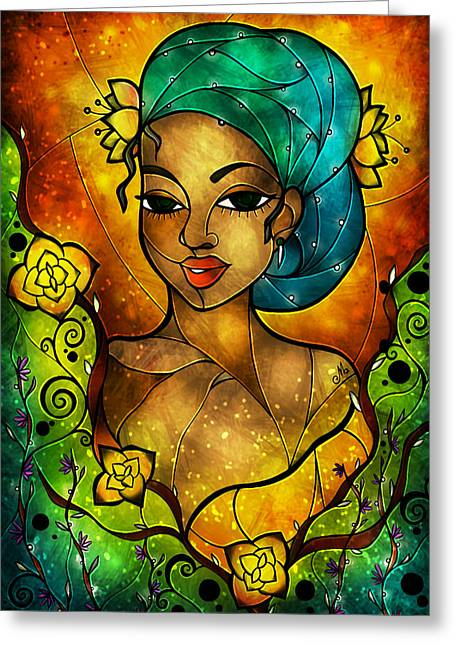 Vitrail Greeting Cards - Lady Creole Greeting Card by Mandie Manzano