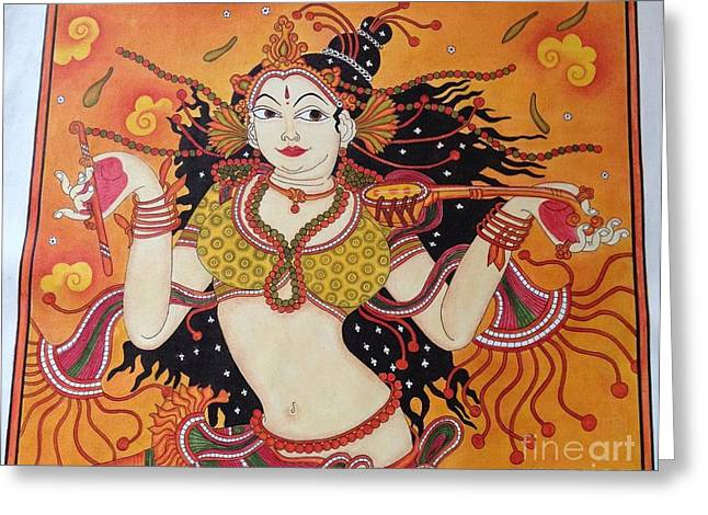 Kerala Murals Greeting Cards - Lady Dance to her tune on kerala mural Greeting Card by Kayathiri  Ravichandran