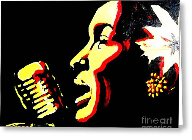 Blackart Greeting Cards - Lady Day Greeting Card by Jonathan Tyson