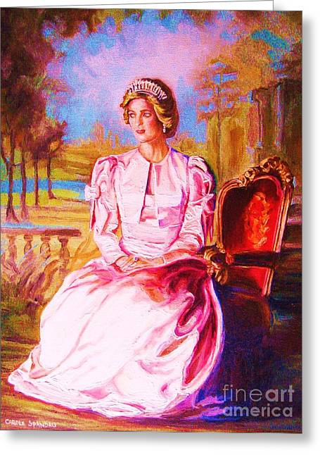 Pricess Greeting Cards - Lady Diana Our Princess Greeting Card by Carole Spandau