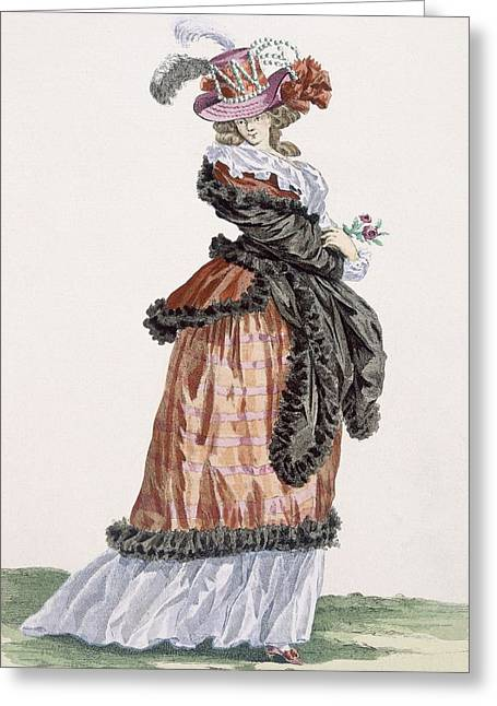 Pearls Drawings Greeting Cards - Lady Enjoying The Air On The Champs Greeting Card by Francois Louis Joseph Watteau