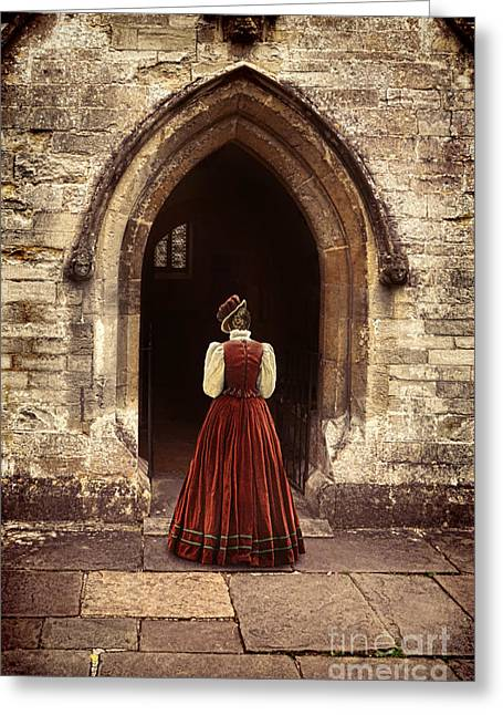 Renaissance Clothing Greeting Cards - Lady Entering an Old Church Greeting Card by Jill Battaglia