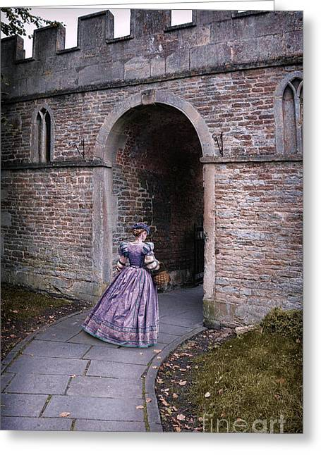 Renaissance Clothing Greeting Cards - Lady Entering Archway Greeting Card by Jill Battaglia