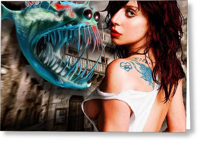 Face Tattoo Mixed Media Greeting Cards - Lady Gaga And Angler Fish Greeting Card by Tony Rubino