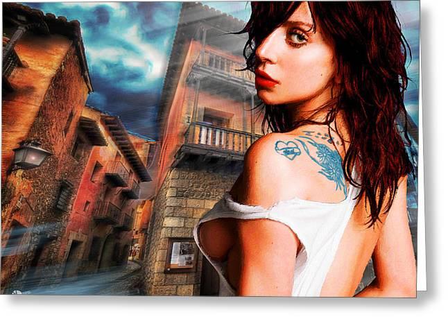Face Tattoo Mixed Media Greeting Cards - Lady Gaga And Street Blue Sky Greeting Card by Tony Rubino