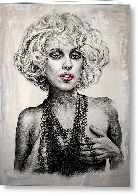 Pout Greeting Cards - Lady GaGa Greeting Card by Andrew Read