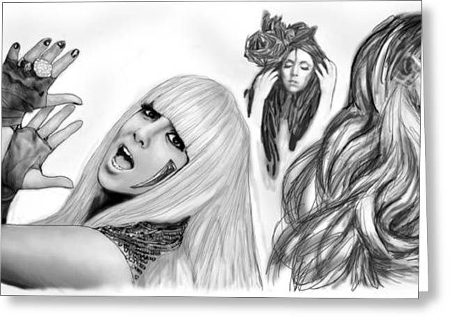 Fashion Designers Greeting Cards - Lady Gaga art long drawing sketch  poster Greeting Card by Kim Wang