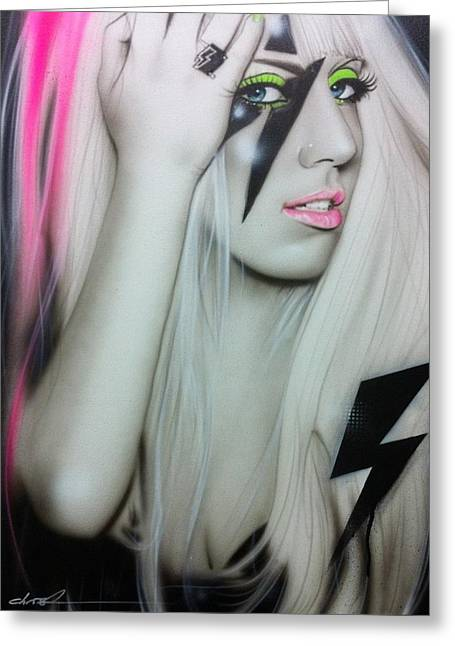 Celebrity Portrait Greeting Cards - Lady GaGa Greeting Card by Christian Chapman Art