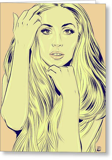 Icon Drawings Greeting Cards - Lady Gaga Greeting Card by Giuseppe Cristiano