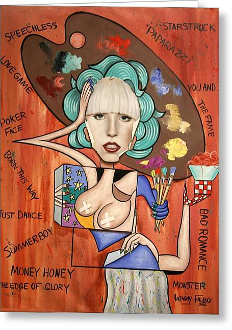 Woman Metal Prints Greeting Cards - Lady Gaga Im Not Finished Yet Greeting Card by Anthony Falbo