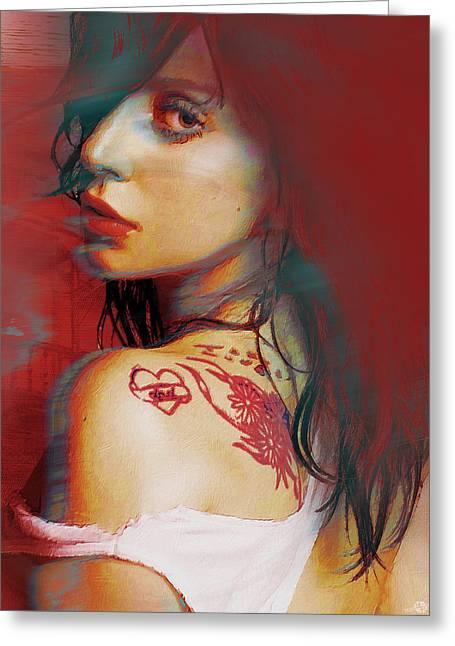 Face Tattoo Mixed Media Greeting Cards - Lady Gaga Impressionist Greeting Card by Tony Rubino