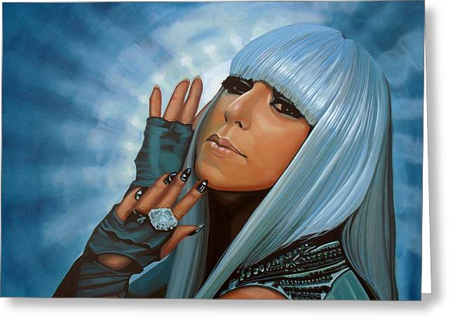 Lady Gaga Painting Greeting Card by Paul Meijering