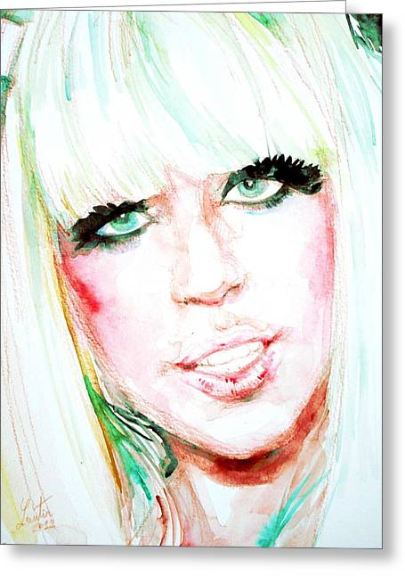 Lady Gaga Paintings Greeting Cards - LADY GAGA - watercolor portrait Greeting Card by Fabrizio Cassetta