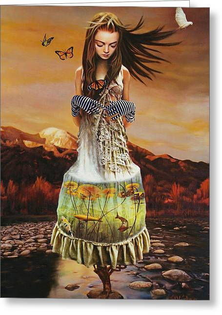 Figurative Mixed Media Greeting Cards - Lady Gaia Greeting Card by Vic Lee