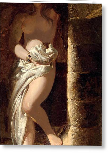Descend Greeting Cards - Lady Godiva  Greeting Card by Edward Henry Corbould