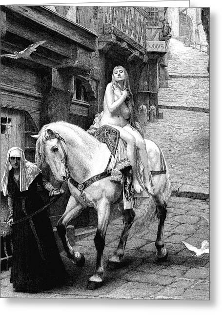 Lady Godiva On Her Horse Greeting Card by Collection Abecasis