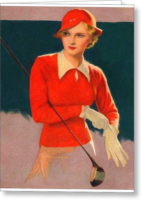 Recently Sold -  - Office Space Greeting Cards - Lady Golfer Greeting Card by Big 88 Artworks