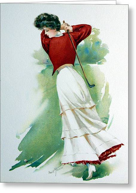 Lpga Greeting Cards - Lady Golfer Greeting Card by Maud Strumm