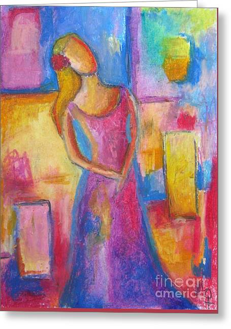 Cubist Pastels Greeting Cards - Lady Grace Greeting Card by Venus
