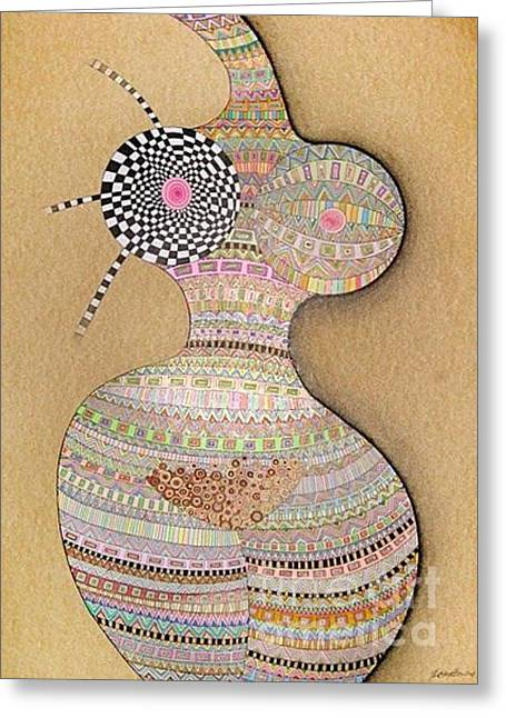Oracular Greeting Cards - Lady Greeting Card by Grass Hopper