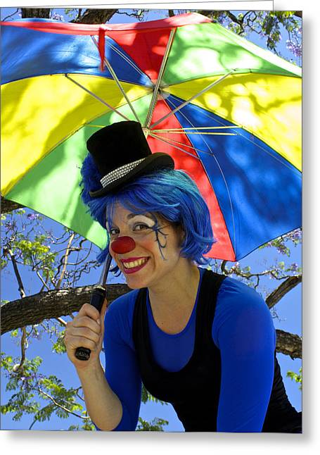 Lady With Red Umbrella Greeting Cards - Lady Green Apple with Her Umbrella Greeting Card by Venetia Featherstone-Witty