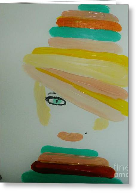 Beauty Mark Greeting Cards - Lady in a Balloon Hat Greeting Card by Marie Bulger