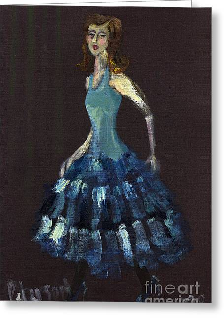 Pencil On Canvas Paintings Greeting Cards - Lady in a blue dress 1998  Greeting Card by Cathy Peterson