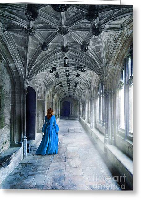Renaissance Clothing Greeting Cards - Lady in a Corridor Greeting Card by Jill Battaglia