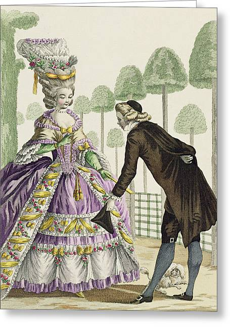Pug Prints Greeting Cards - Lady In A Lilac Dress Promenades Greeting Card by Pierre Thomas Le Clerc
