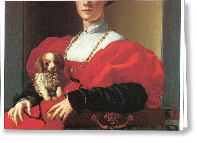 Lady in a Red Dress Greeting Card by Jacopo Pontormo