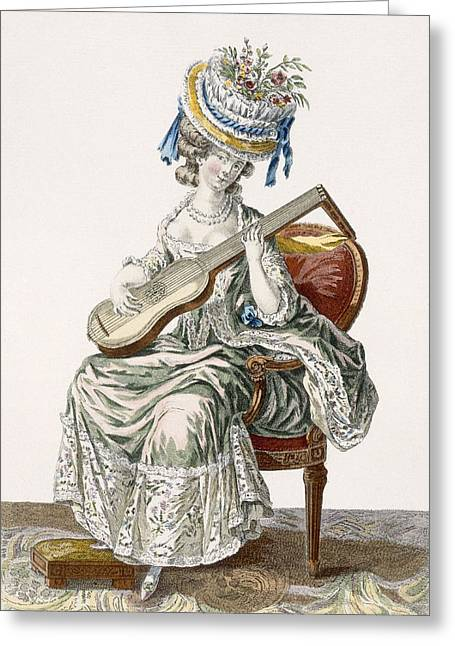 Hat Prints Greeting Cards - Lady In A Shot Taffeta Dress Trimmed Greeting Card by Pierre Thomas Le Clerc