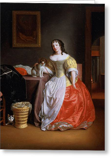 Spaniel Greeting Cards - Lady In A Yellow And Red Dress Greeting Card by Samuel van Hoogstraten
