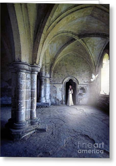 Historical Costume Greeting Cards - Lady in Abbey Room with Doves Greeting Card by Jill Battaglia