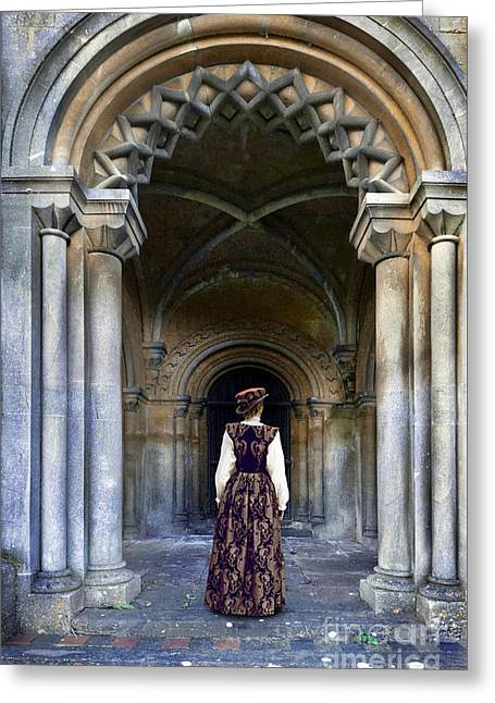 Renaissance Clothing Greeting Cards - Lady in Archway Greeting Card by Jill Battaglia