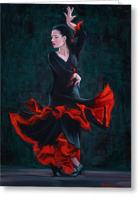 Spanish Dancer Greeting Cards - Lady in Black Greeting Card by Roseann Munger