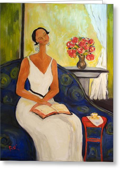 Becky Kim Greeting Cards - Lady in Blue Chair Greeting Card by Becky Kim