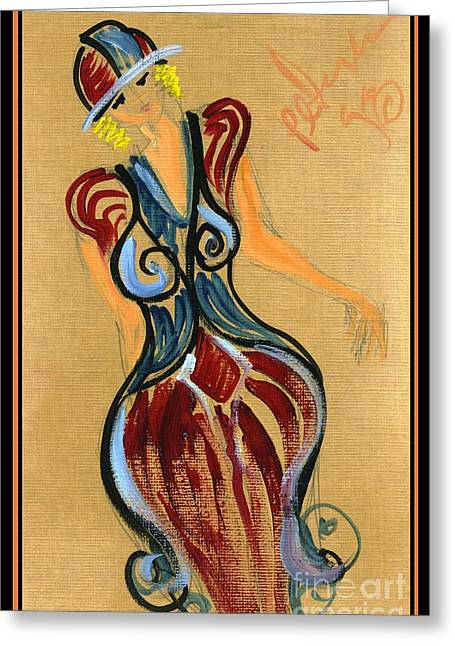 Pencil On Canvas Paintings Greeting Cards - Lady in Fashion 1998 Greeting Card by Cathy Peterson