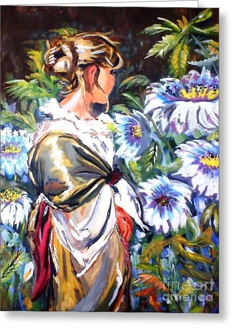 Lady In Garden Greeting Card by Jyoti Vats