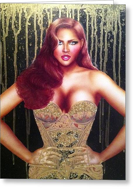 Versace Greeting Cards - Lady in Gold Greeting Card by Davonte Bailey