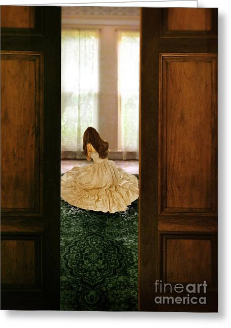 Bridal Gown Greeting Cards - Lady in Gown Crying on the Floor Greeting Card by Jill Battaglia