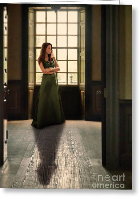 Ball Gown Greeting Cards - Lady in Green Gown by Window Greeting Card by Jill Battaglia