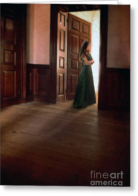 Ball Gown Greeting Cards - Lady in Green Gown in Doorway Greeting Card by Jill Battaglia